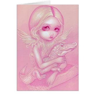 """Albino Alligator Angel"" Greeting Card"