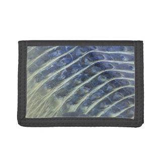 albino alligator back scales inverted tri-fold wallet