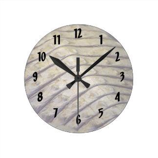 albino alligator back scales round clock