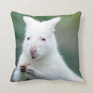 Albino Bennett Wallaby Throw Pillow