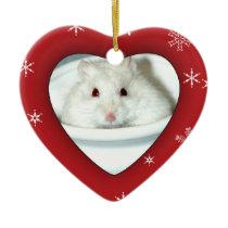 Albino Hamster Photo Ceramic Ornament