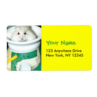 Albino Hamster Photo Label