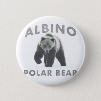 albino polar bear pinback button