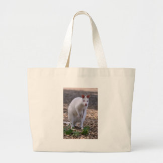 Albino Red-necked wallaby Large Tote Bag
