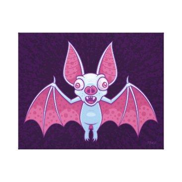 Halloween Themed Albino Vampire Bat Canvas Print