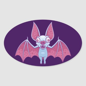 Halloween Themed Albino Vampire Bat Oval Sticker