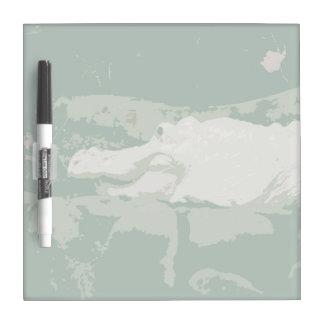 albino white alligator graphic green reptile Dry-Erase board