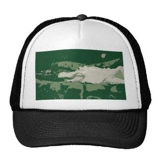 albino white alligator graphic green reptile mesh hat