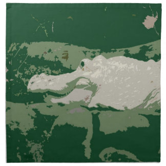 albino white alligator graphic green reptile napkin