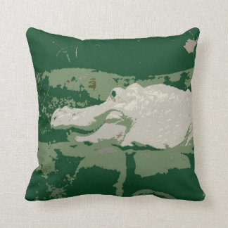 albino white alligator graphic green reptile throw pillow