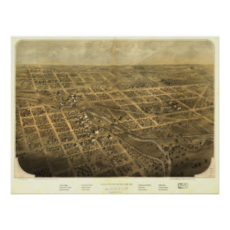 Albion Michigan 1868 Antique Panoramic Map Posters