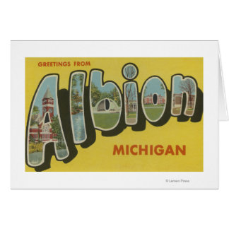 Albion, Michigan - Large Letter Scenes Greeting Cards