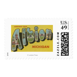 Albion, Michigan - Large Letter Scenes Stamp