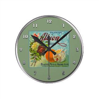 Albion Oranges Fruit Crate Label Round Clock