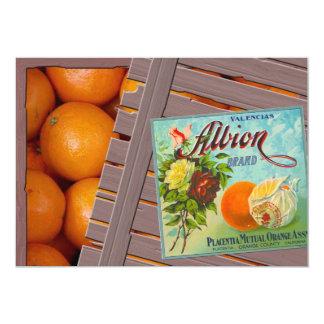 """Albion Oranges Fruit Crate Label 5"""" X 7"""" Invitation Card"""