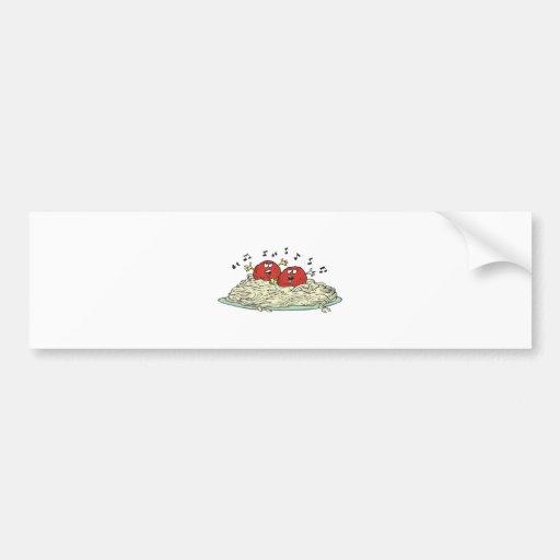 albóndigas del canto en los espaguetis etiqueta de parachoque