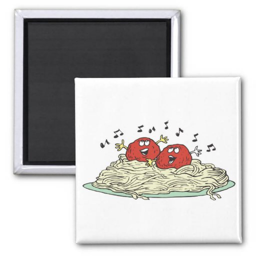 albóndigas del canto en los espaguetis imán cuadrado