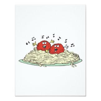 """albóndigas del canto en los espaguetis invitación 4.25"""" x 5.5"""""""