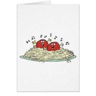 albóndigas del canto en los espaguetis tarjeta de felicitación