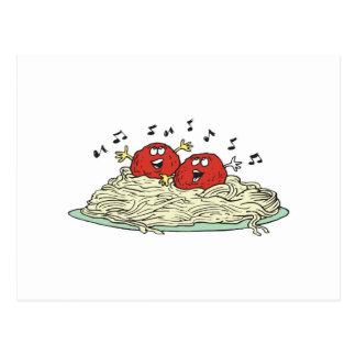 albóndigas del canto en los espaguetis tarjeta postal