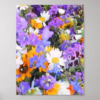 Alboroto de colores florales impresiones