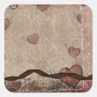 Alboroto de los corazones colcomanias cuadradas personalizadas