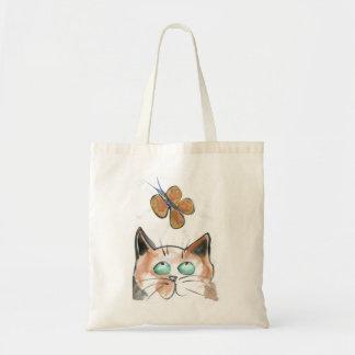 Alboroto de oro - mariposa y gato bolsa