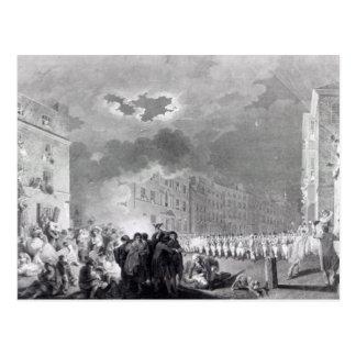 Alboroto en calle amplia, junio de 1780 postales