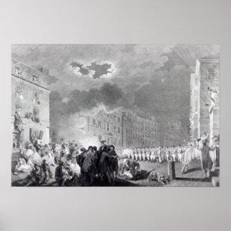 Alboroto en calle amplia, junio de 1780 póster