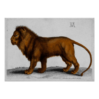 Albrecht Durer Color Engraving Lion Poster