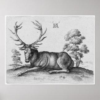 Albrecht Durer Engraving Stag Deer Posters