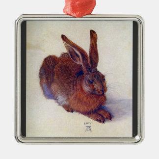 Albrecht Durer - Field hare Square Metal Christmas Ornament