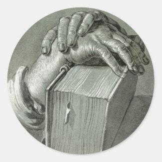 Albrecht Dürer Hand Study with Bible Classic Round Sticker