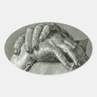 Albrecht Dürer Hand Study with Bible Oval Sticker