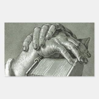 Albrecht Dürer Hand Study with Bible Rectangular Sticker
