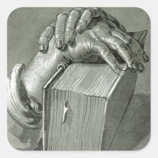 Albrecht Dürer Hand Study with Bible Square Sticker