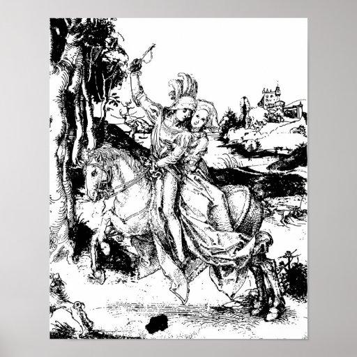 Albrecht Durer Horseback Riding Drawing Poster