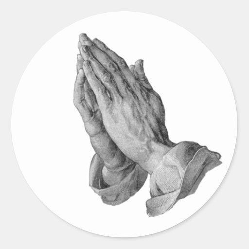 Albrecht Durer - manos que ruegan Etiqueta Redonda