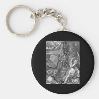 Albrecht Durer Melencolia I Basic Round Button Keychain
