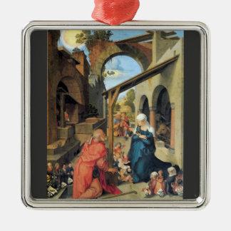 Albrecht Durer - nacimiento de Cristo Adorno Cuadrado Plateado