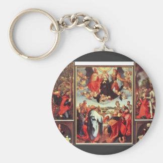Albrecht Durer - Reconstruction of the open altar Basic Round Button Keychain