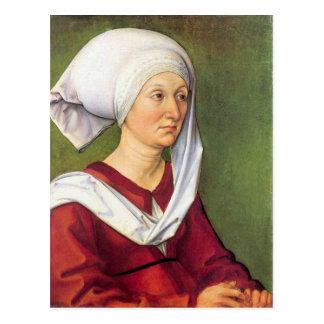 Albrecht Durer - retrato de Barbara Durer llevado  Tarjetas Postales