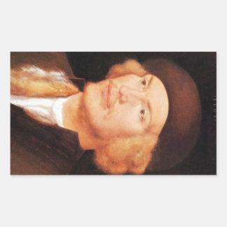 Albrecht Durer - retrato de un hombre joven 2 Pegatina Rectangular