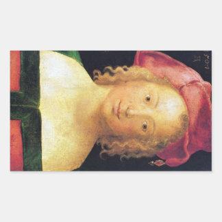 Albrecht Durer - retrato de una chica joven con un Pegatina Rectangular