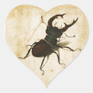 Albrecht Durer Stag Beetle Renaissance Vintage Art Heart Sticker