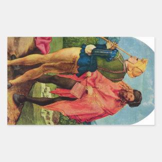 Albrecht Durer - Three altar detail Rectangular Sticker
