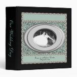 Álbum azul del boda del marco de la foto del leopa