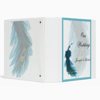 Álbum azul del boda del penacho del pavo real del