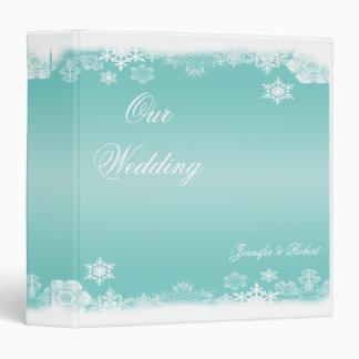 Álbum blanco azul claro del boda del copo de nieve