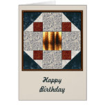 Album Block Patch in Green & Rust Greeting Cards